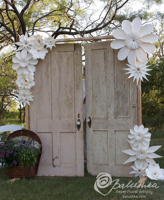 Diy Paper Flowers Wedding Arch: Items Similar To Paper Flower Group Embellished With Lace