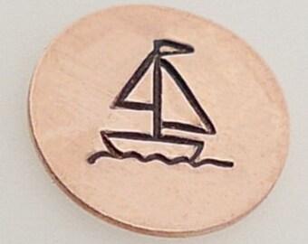 Metal Steel Stamps SAIL BOAT 5 mm Design Stamp Jewelry Stamping -Metal Stamping Supplies