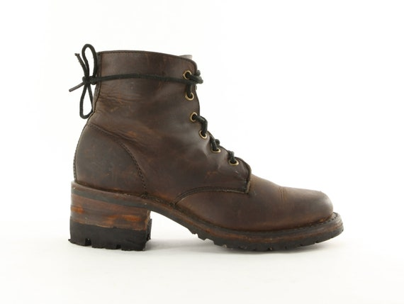 Thank Granny It's Frye Day: IMHO, Sexiest Vintage Logger Boots Ever. White Label. Stacked Wood Heel. Made in USA by Frye - Womens Size 6.5 M