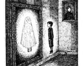 Halloween Ghost Boy in the mirror print of an Original Illustration