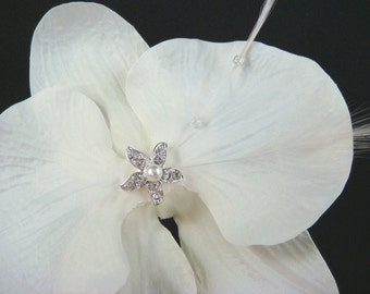 Off White Bridal Orchid Hair Clip with feathers and RHINESTONE STARFISH / Beach Wedding bride hair orchid flower