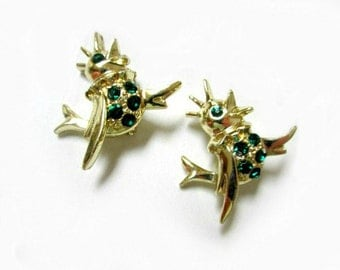 """Vintage Pair Birds Pins Green Rhinestone 2 Pins Vintage Pair Scatter 1"""" Gift for Her Gift for Mom Gift for Friend"""