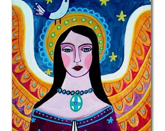 Mexican Folk Art Ceramic Tile  Angel Virgin of Guadalupe Art  Mexican Talavera Tiles Gift COASTER
