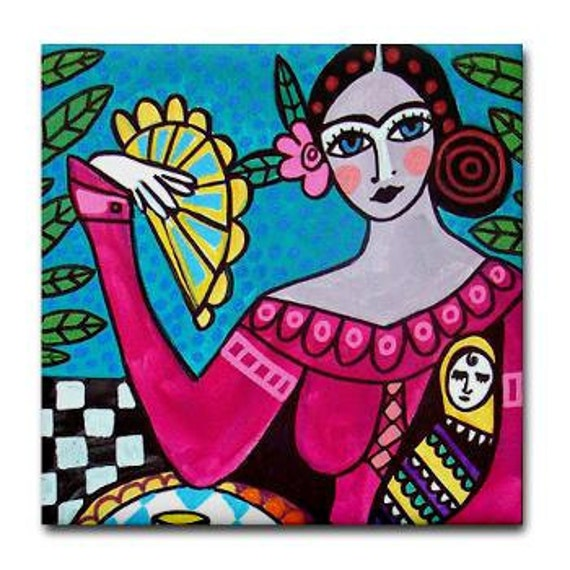 Frida TILE Frida Kahlo Art   Mexican Folk Art Ceramic Tile  Gift COASTER