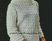 Vintage Crochet Pattern 364 PDF Ladies Sweater from WonkyZebra
