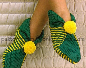 4 Retro Knittable  Slippers Pattern PDF 253  from WonkyZebra