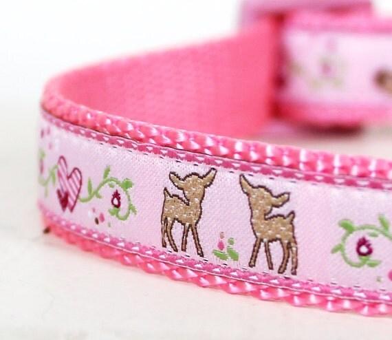 Pretty Woodland Dog Collar / Deer and Hearts on Pink / Adjustable Dog Collar