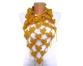Mustard Yellow,Autumn Gold Hand Crochet Flower Scarf- Long Necklace Winter Accessories-Fashion ,Elegant 2012