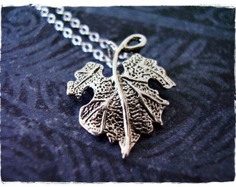 Silver Grape Leaf Necklace - Sterling Silver Grape Leaf Charm on a Delicate Sterling Silver Cable Chain or Charm Only