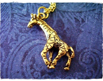 Gold Giraffe Necklace - Antique Gold Pewter Giraffe Charm on a Delicate Gold Plated Cable Chain or Charm Only