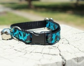 Blue Leopard Cat Collar - 1/2 inch adjustable break-away