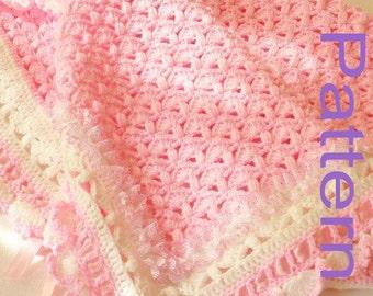 Crochet Baby Blanket PDF Pattern Baby Girl A Cotton Candy Treat Original Design