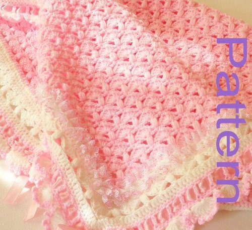 Crochet Baby Blanket Cotton Pattern : PDF Pattern Crochet Baby Blanket Girl A Cotton Candy Treat