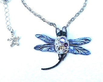 HUGE SALE  Stunning Steampunk Dragonfly Necklace