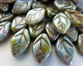 25 Opaque Sage Green Luster  with Picasso Finish Leaves in veins   7x12mm