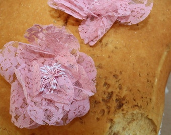 Cute pink color lace flower 2 pieces  listing