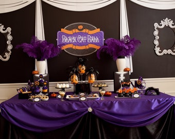 Halloween Black Cat Ball Printable Party - as seen on Hostess With the Mostess