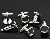 10pcs WHOLESALE Cufflink Blanks - Silver Cufflink Findings - Cuff Link Backs - 12mm Bezel Cufflink Blanks - Bezel Picture Tray Pad Blanks
