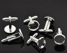 10pcs WHOLESALE Cufflink Blanks - Silver Cufflink Findings - Cuff Link Backs - 12mm Bezel Cufflink Blanks