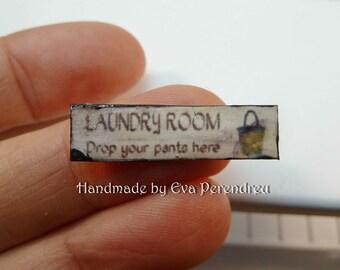Tin sign for dollhouse laundry room