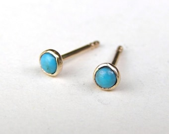 Stud Earrings, 14k Solid gold studs, Turquoise earring, Turquoise Studs  3mm, teacher gift, girls gift, birthday gift, gift idea