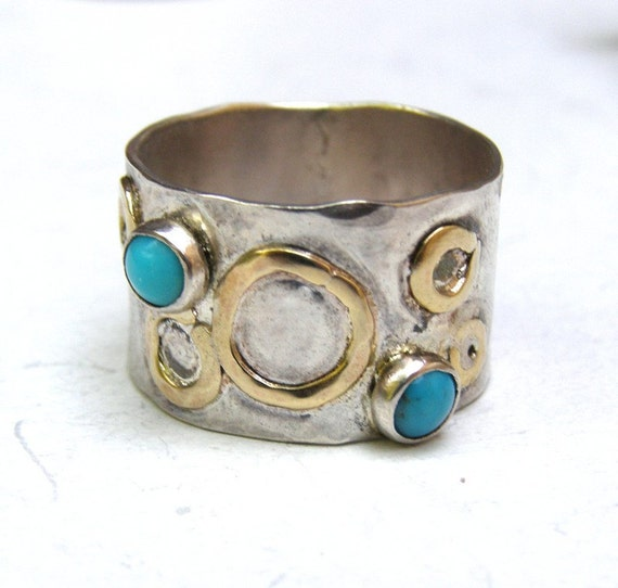 SALE Blue Turquoise Ring - Silver ring size 7