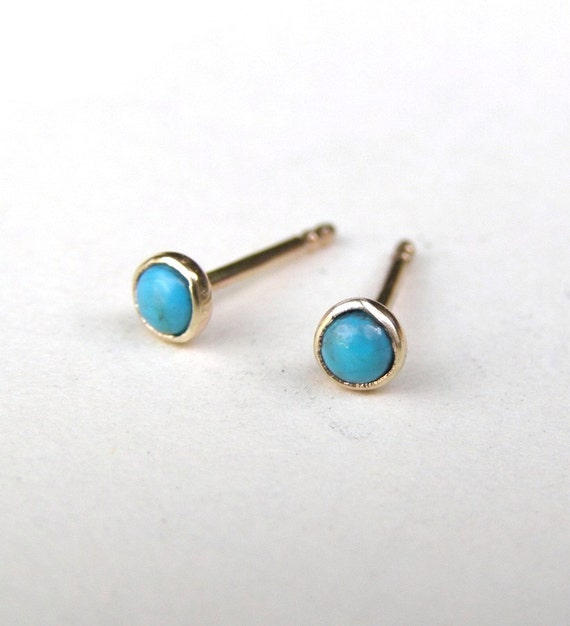 Turquoise earring  Turquoise Studs in Recycled 14k yellow Gold studs