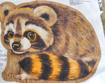 Vintage Fabric Animal print Randy The Racoon Fabric DIY pillow toy 1970s