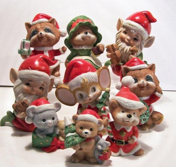 9 Assorted Vintage Homco Christmas Santa Figurines Mice Elves Teddy Bears Raccoons z