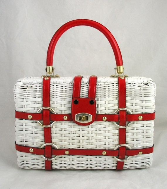 Vintage 60s Red Leather & White Wicker Nautical Clamshell Purse Handbag - Free USA Shipping