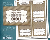 Hot Cocoa Bar. Vintage Stripes Holiday Sign & Food Tents. Any colors. Digital Files by Tipsy Graphics