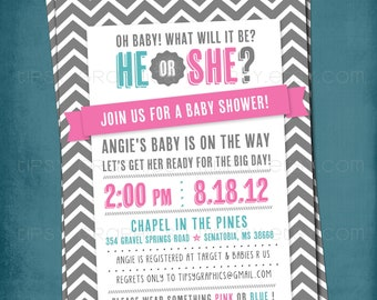Pink or Blue. He or She. Chevron Gender Reveal Gender Neutral Baby Shower Invitation.  Any text and colors by Tipsy Graphics