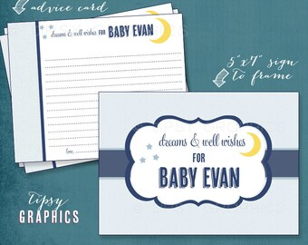 Moon & Stars. Dreams and Well Wishes for Baby.  Printable Cards. Any colors by Tipsy Graphics
