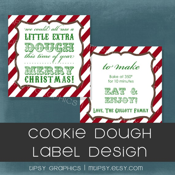 A Little Extra Dough. Vintage Stripes Holiday Sticker or Tag. Any colors by Tipsy Graphics. Marci Coombs 2011 Neighbor Gift
