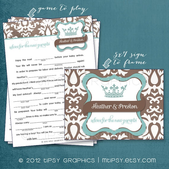 Little Prince. Funny MadLibs. Sweet Advice or Baby Stats. By Tipsy Graphics. Printable Cards any colors