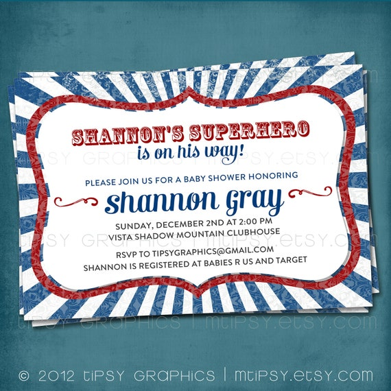 Superhero on the Way. Red White & Blue Distressed BBQ Party or Couples Baby / Wedding Shower / Company Picnic Invite. by Tipsy Graphics