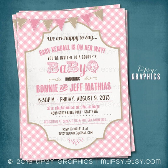 picknick-baby-grill. mhg gingham babyq baby shower party, Einladung