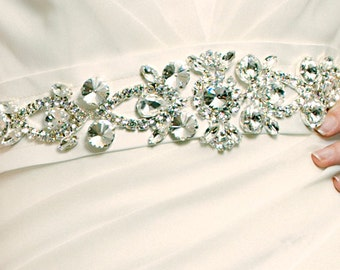 Bridal Belt Sash with Czech Crystals - made to order