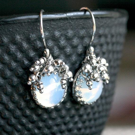 Handmade oxidized sterling silver earrings, opal Swarovski vintage glass cabochons, blue, bezel set earrings, Mimi Michele Jewelry
