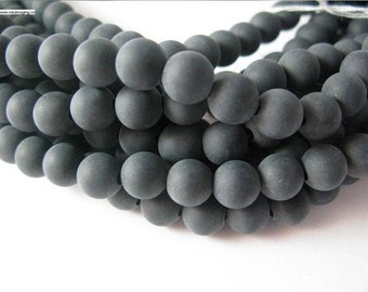 32 pcs 16 inch long regular hole matt onyx round beads in 12mm