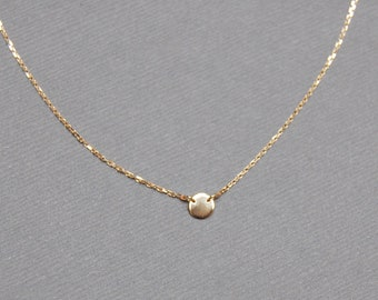 Solid 10K Gold Tiny Solitaire Dot Necklace