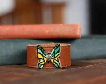 Girl's Leather Bracelet, Brown Leather Painted Branded Butterfly (Size 6 inches)