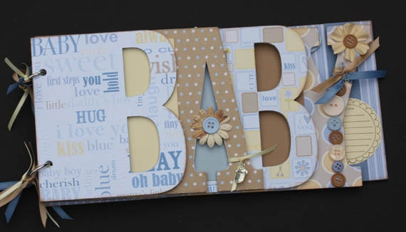 Baby scrapbook album, Premade scrapbook for baby boy, Word album made from chipboard, Blue scrapbook album-BB4