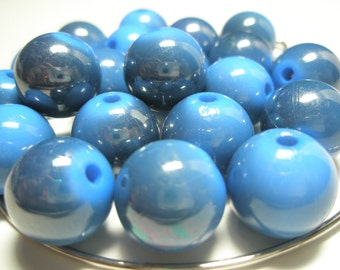 Royal Blue SHIMMER Beads Spacers  - (16 mm) - Basketball Wives Inspired - 10 pieces