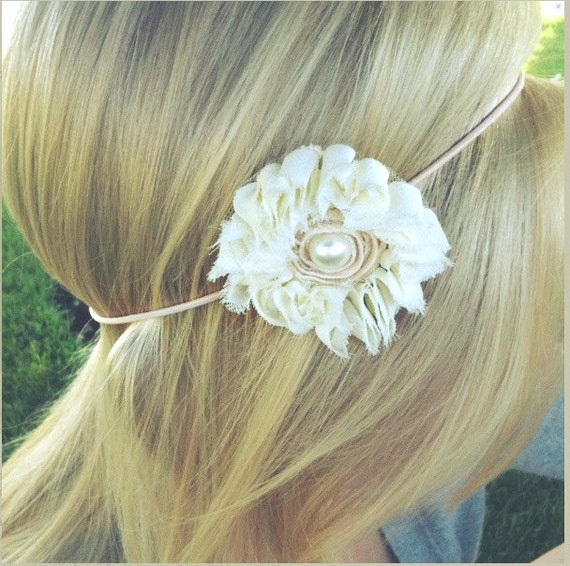 Cream Chiffon and Pearl Ruffle Flower on a Thin Elastic Headband - Sweet Pea Collection - FREE SHIPPING - Great Photo Prop