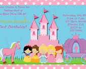 Princess & Ponys Birthday Invitation Disney Inspired-Digital File