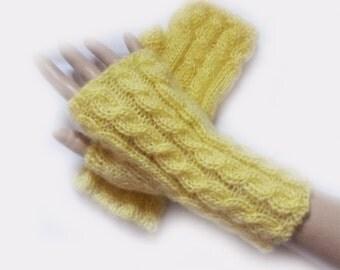 Fingerless Gloves, Fingerless Mittens, Knit  Lemon Yellow Mohair Cable  Fingerless Gloves, Mittens Arm Warmers   Women Girl