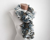 Grey Blue White  Knit Scarf Frilly scarf Ruffled Scarf colorful  Variegated  Holiday Accessories