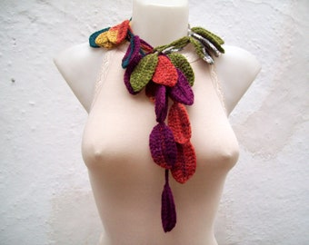 Scarf Crochet Leaf, Lariat Scarf, Crochet Leaves Scarves, Colorful Necklace, Purple Red Yellow Green