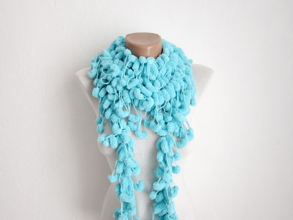 Hand crochet Long Scarf Mulberry Scarf Turquoise Pompom Fall Autumn Winter Accessories Fall Fashion